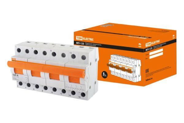 Модульный переключатель трехпозиционный МП-125 4P 125А TDM SQ0224-0051