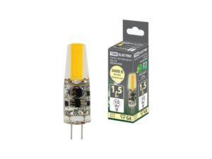 Лампа светодиодная G4-1,5 Вт-AC/DC 12 В-3000 К, COB, 9,5х36 мм TDM SQ0340-0090