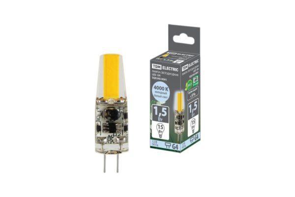 Лампа светодиодная G4-1,5 Вт-AC/DC 12 В-4000 К, COB, 9,5х36 мм TDM SQ0340-0091