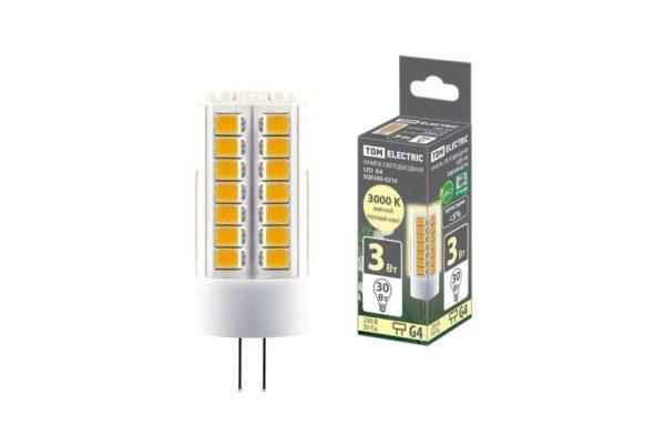 Лампа светодиодная G4-3 Вт-230 В-3000 К, SMD, 16x43 мм TDM SQ0340-0210