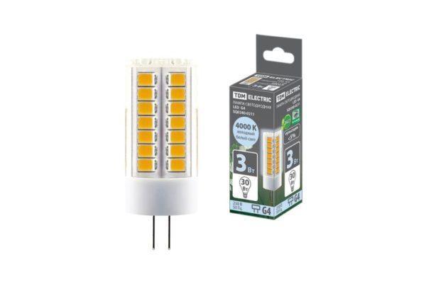 Лампа светодиодная G4-3 Вт-230 В-4000 К, SMD, 16x43 мм TDM SQ0340-0211