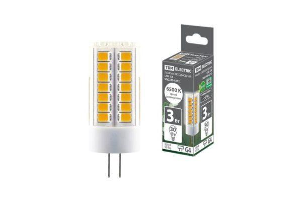 Лампа светодиодная G4-3 Вт-230 В-6500 К, SMD, 16x43 мм TDM SQ0340-0212