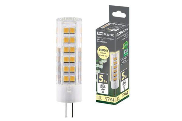 Лампа светодиодная G4-5 Вт-AC/DC 12 В-3000 К, SMD, 16x57 мм TDM SQ0340-0213