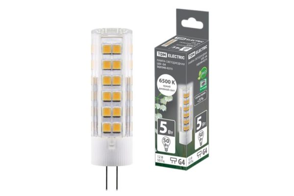 Лампа светодиодная G4-5 Вт-AC/DC 12 В-6500 К, SMD, 16x57 мм TDM SQ0340-0215