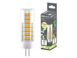 Лампа светодиодная G4-5 Вт-230 В-3000 К, SMD, 16x55 мм TDM SQ0340-0216