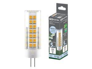 Лампа светодиодная G4-5 Вт-230 В-4000 К, SMD, 16x55 мм TDM SQ0340-0217