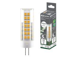 Лампа светодиодная G4-5 Вт-230 В-6500 К, SMD, 16x55 мм TDM SQ0340-0218