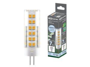 Лампа светодиодная G4-7 Вт-230 В-4000 К, SMD, 18,5x57 мм TDM SQ0340-0220