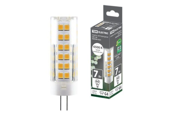 Лампа светодиодная G4-7 Вт-230 В-6500 К, SMD, 18,5x57 мм TDM SQ0340-0221
