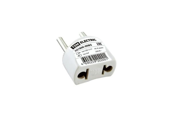 Переходник (тип С1-В - тип A/F) круглый 16A 250В белый TDM SQ1806-0085