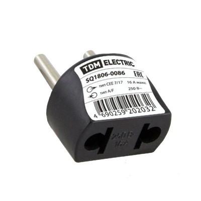 Переходник (тип С1-В - тип A/F) круглый 16A 250В черный TDM SQ1806-0086