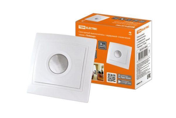 """Сенсорный выключатель с задержкой отключения  белый """"Таймыр"""" TDM"""