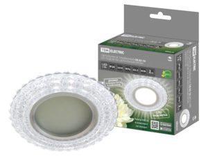 Светильник встраиваемый СВ 03-10 MR16 50Вт G5.3 LED подсветка 3 Вт зеркальный/хром TDM