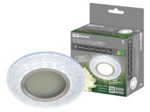 Светильник встраиваемый СВ 03-11 MR16 50Вт G5.3 LED подсветка 3 Вт зеркальный/хром TDM