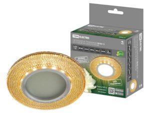 Светильник встраиваемый СВ 03-11 MR16 50Вт G5.3 LED подсветка 3 Вт золото/хром TDM