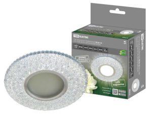 Светильник встраиваемый СВ 03-15 MR16 50Вт G5.3 LED подсветка 3 Вт зеркальный/хром TDM