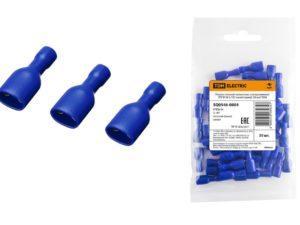 Разъем плоский полностью изолированный РППИ-М 2-187 синий (мама) (50 шт) TDM