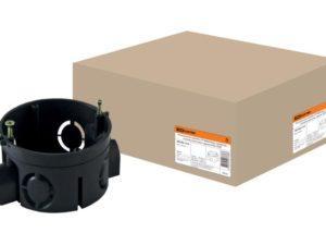 Установочная коробка СП D68х42мм, саморезы, стыковочные узлы, черная, IP20, TDM SQ1402-1115