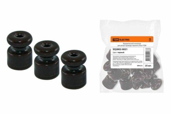 Керамический изолятор для ретро провода черный (25шт) TDM