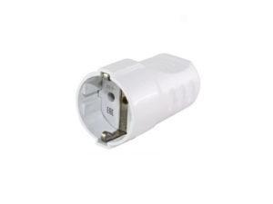 Кабельная розетка рифленая 2П+З 16А 250B белая TDM; SQ1806-0211