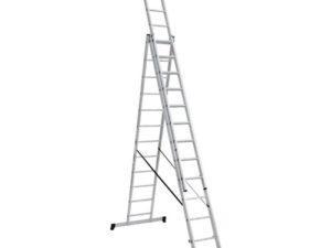 Лестница алюминиевая, ЛА3х12, 3х секционная х 12 ступеней, h=7870 мм, Народная