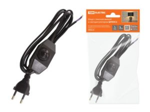 Шнур с плоской вилкой и светорегулятором ШУ05С2 (200Вт, RL) ШВВП 2х0,75мм2 2м. черный TDM; SQ1305-0052