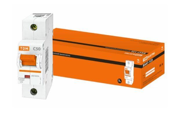 Автоматический выключатель ВА47-125 1P 50А 15кА х-ка С