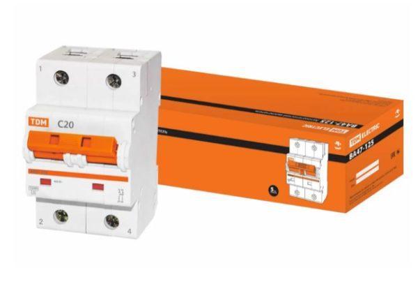 Автоматический выключатель ВА47-125 2P 20А 15кА х-ка С
