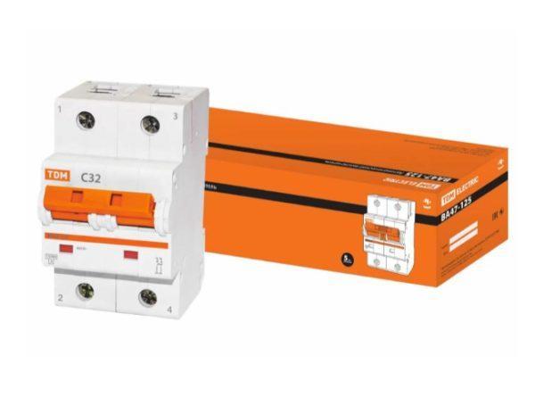 Автоматический выключатель ВА47-125 2P 32А 15кА х-ка С