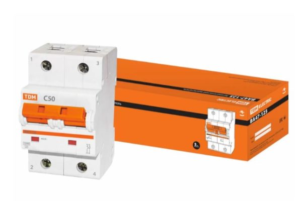 Автоматический выключатель ВА47-125 2P 50А 15кА х-ка С