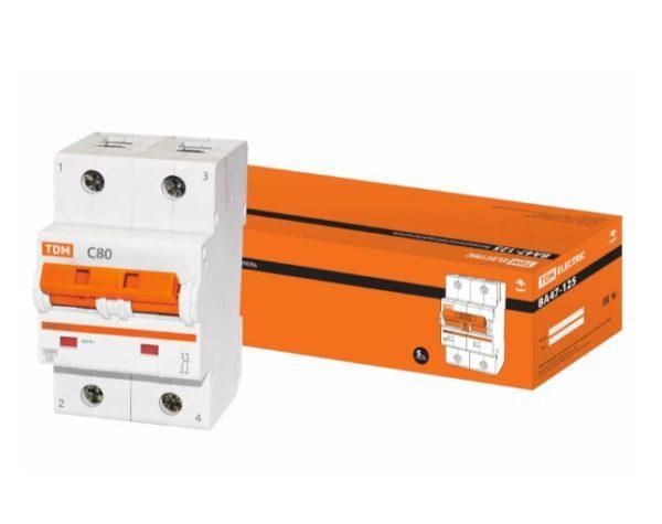 Автоматический выключатель ВА47-125 2P 80А 15кА х-ка С