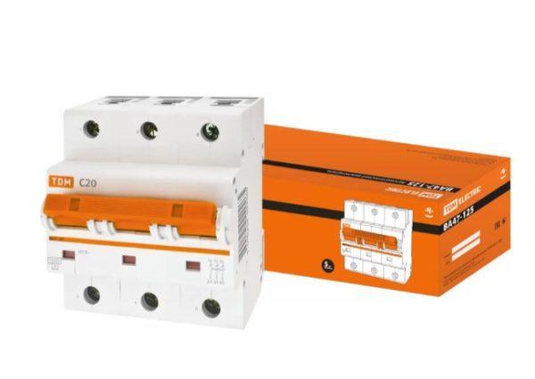 Автоматический выключатель ВА47-125 3P 20А 15кА х-ка С