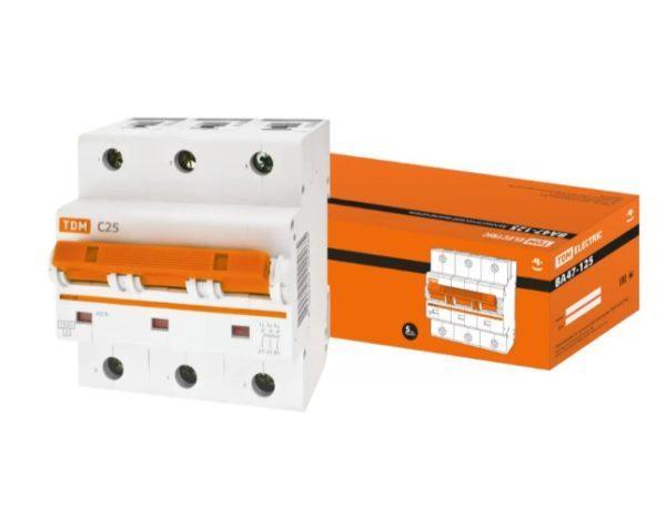 Автоматический выключатель ВА47-125 3P 25А 15кА х-ка С