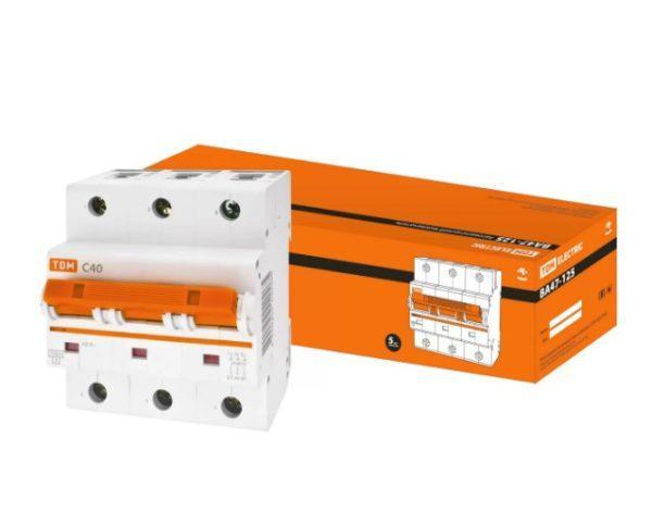 Автоматический выключатель ВА47-125 3P 40А 15кА х-ка С