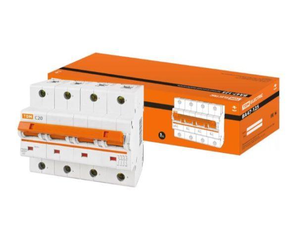 Автоматический выключатель ВА47-125 4P 20А 15кА х-ка С