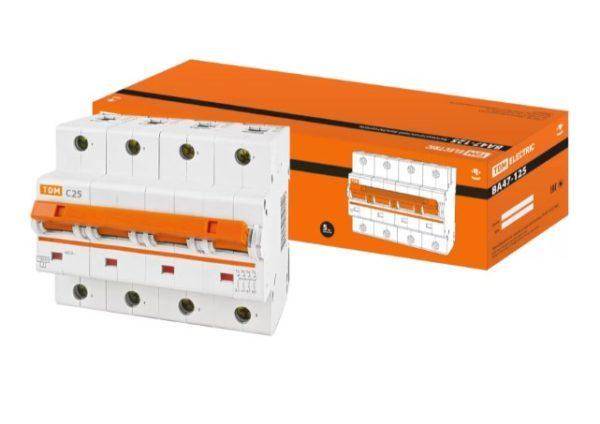 Автоматический выключатель ВА47-125 4P 25А 15кА х-ка С