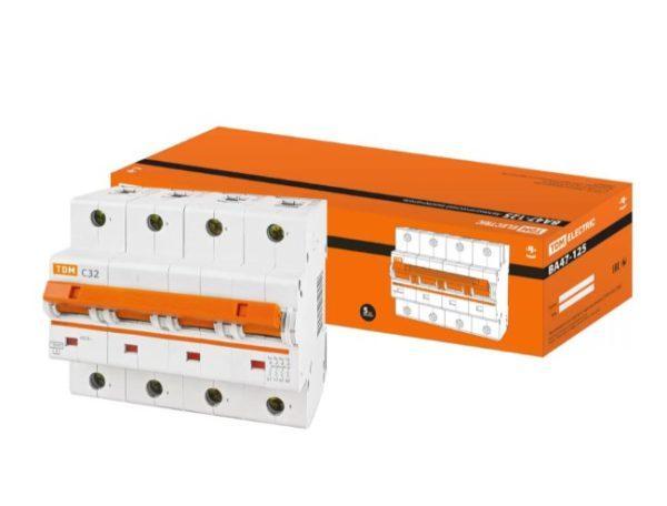 Автоматический выключатель ВА47-125 4P 32А 15кА х-ка С