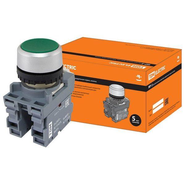 Кнопка с фиксацией MP2-20G в сборе d22мм 1з+1р зеленая TDM SQ0747-0008