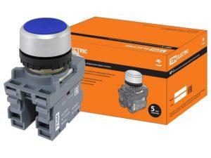 Кнопка с фиксацией MP2-20L в сборе d22мм 1з+1р синяя TDM SQ0747-0010
