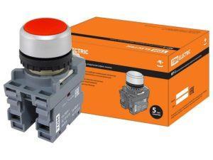 Кнопка с фиксацией MP2-20R в сборе d22мм 1з+1р красная TDM SQ0747-0007