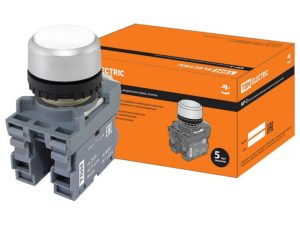 Кнопка с фиксацией MP2-20W в сборе d22мм 1з+1р белая TDM SQ0747-0011