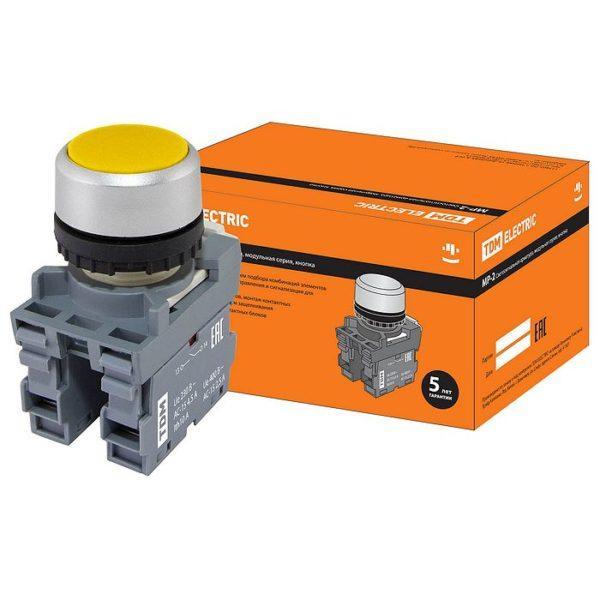 Кнопка с фиксацией MP2-20Y в сборе d22мм 1з+1р желтая TDM SQ0747-0009