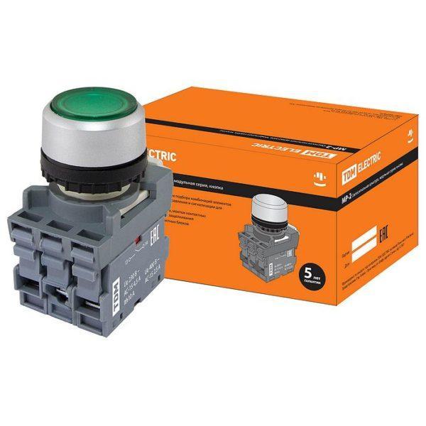 Кнопка с фиксацией MP2-21G(LED) в сборе d22мм/220В 1з+1р зеленая TDM SQ0747-0022