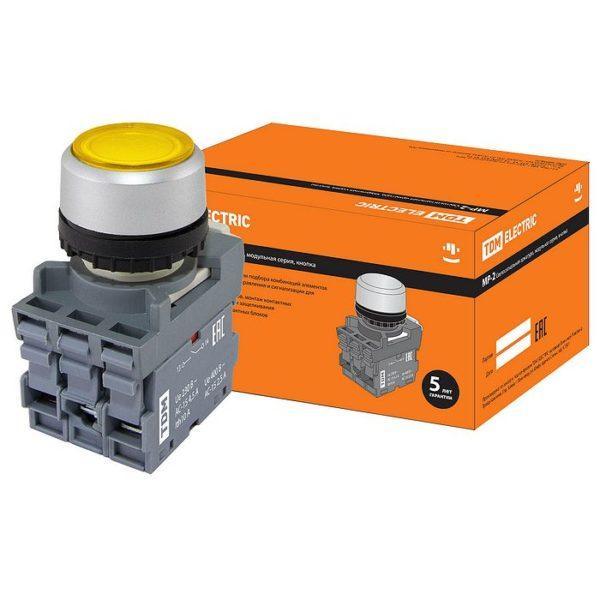 Кнопка с фиксацией MP2-21Y(LED) в сборе d22мм/220В 1з+1р желтая TDM SQ0747-0023