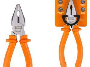 Пассатижи (плоскогубцы), с пластиковыми рукоятками, углеродистая сталь, 160 мм, серия «Гранит» TDM; SQ1009-0101